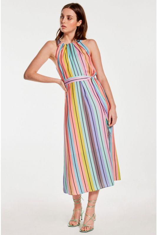 Elegantes Neckholderkleid mit Multi-Color-Muster