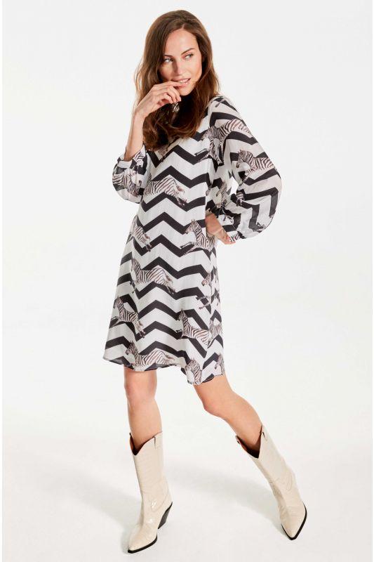 Kleid aus Seide mit Zebradruck in Schwarz