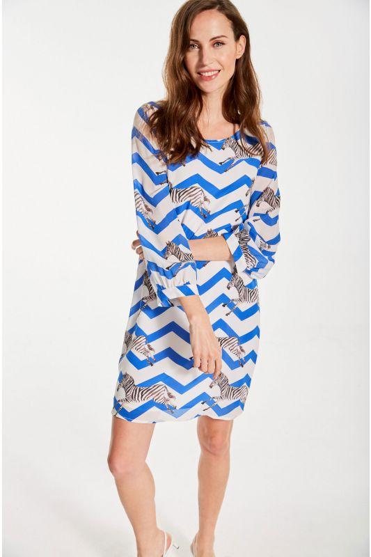 Kleid aus Seide mit Zebradruck in Blau
