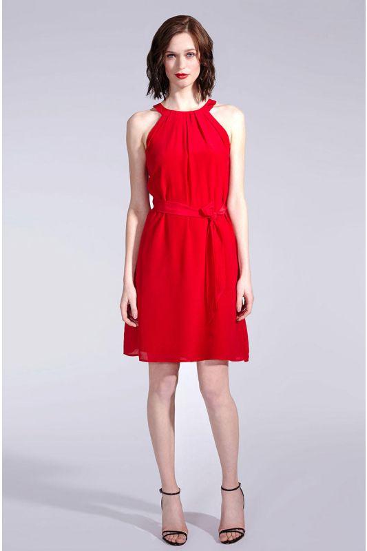 Seidenkleid im Neckholder-Stil in Rot