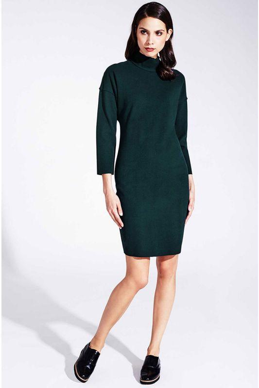 Warmes Langarm-Kleid mit Rollkragen