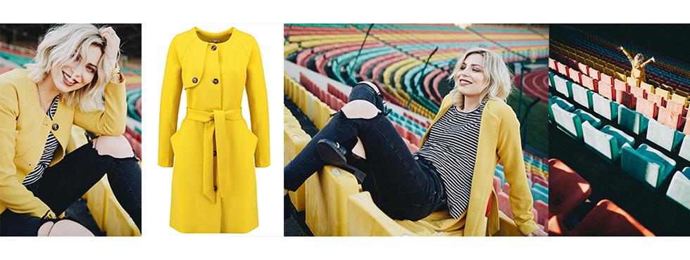 KALA Berlin Mantel | Masha Sedgwick strahlt in sunny yellow